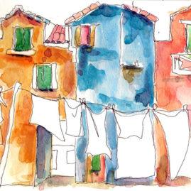 carnet de voyage linge à Burano
