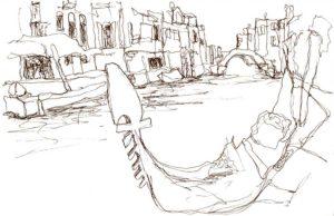 Dessin à l'encre de Chine, Venise gondole