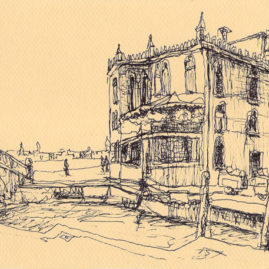 Dessin à l'encre de Chine : Venise Quai Guardini