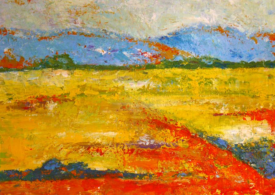 peinture acrylique champ jaune