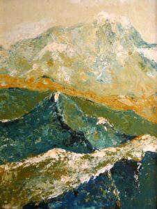 peinture acrylique : La Sambuy, Chaurionde et Le Mont-Blanc