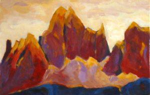 Peinture acrylique : montagne les Dolomites