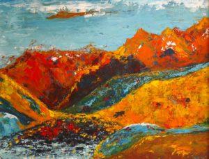 peinture acrylique montagnes rouges