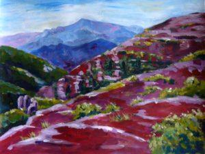 Peinture acrylique : Mercantour le Mont Mounier