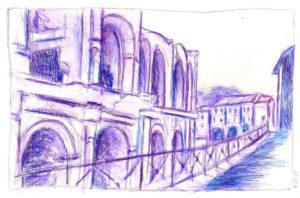 Arènes d'Arles au crayon aquarellable
