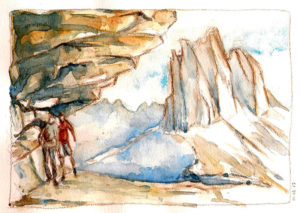 aquarelle & crayons marcheurs dans les Dolomites