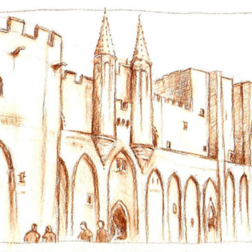 Palais des Papes au crayon aquarellable