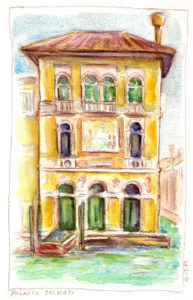 palazzo salviati à venise crayon et aquarelle