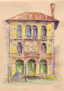 Dessin aquarellé du Palazzo Salviati à Venise