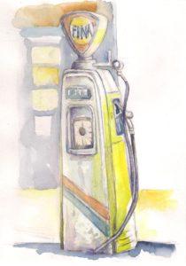 aquarelle pompe-essence-fina