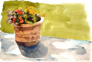 pot fleurs aquarelle