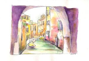 aquarelle Venise canal