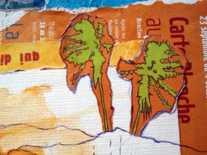 Collage Paysage paesine détail palmiers