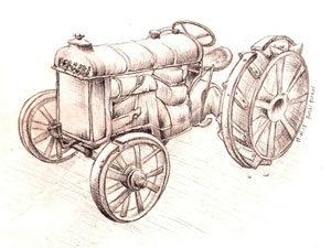 dessin crayon noir tracteur