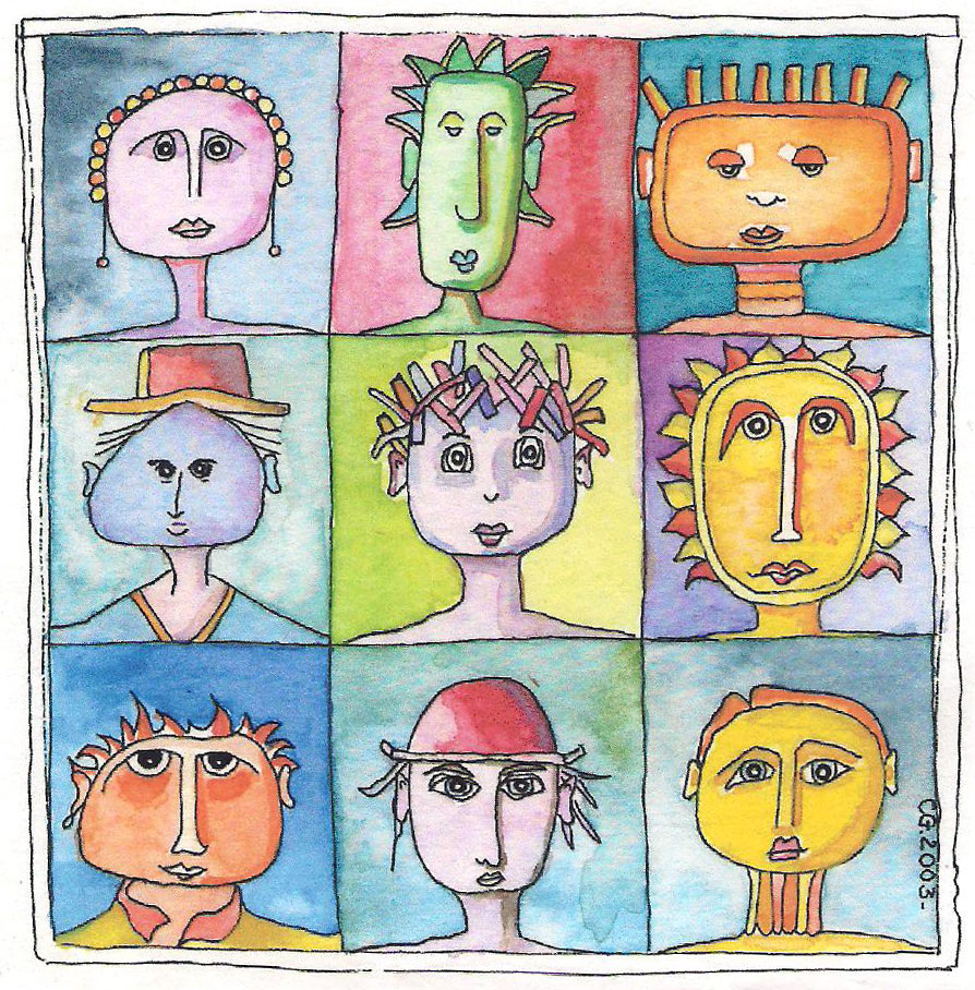 Aquarelle têtes de personnages stylisés