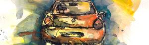aquarelle bandeau-clio voiture