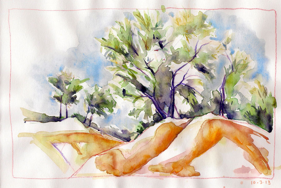 aquarelle technique mixte marnes rouges sainte victoire