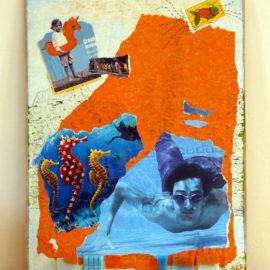 collage plongée aux couleurs dominantes orange et bleu