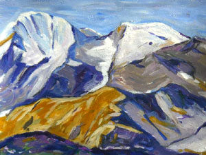 peinture montagne façon Ferdinand Hodler