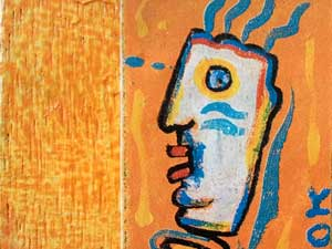 bohomme dessin sur fond orange