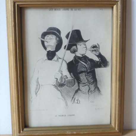 gravure daumier deux jeunes gens en train de fumer un cigare