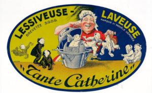 Affichette publicitaire ancienne Lessiveuse Tante Catherine