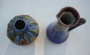 Vase et pichet en grès flammé Méténier vus dessus